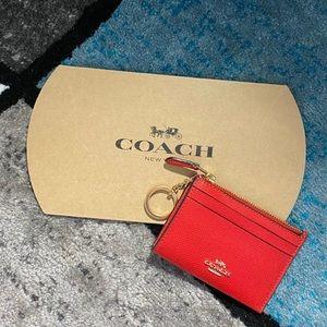 Coach BRAND NEW Bright Red Mini Skinny Wallet